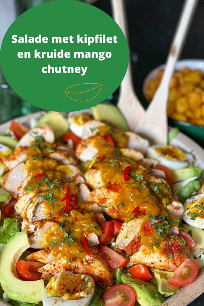 salade met kipfilet en kruidige mango chutney
